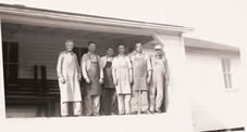 Albert Kallies, Asoph Berger, Herb Kallies, Maynard Hoefs, Reuben Schmidt, Earl Krueger at Cheese House, circa 1940s