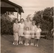 Kathryn Dobratz, Bernadina and Lorraine Gentz, June Westphal, Gladys Westphal, Darlene Dobratz, and Kay Koska at the Section house, circa early 1930s